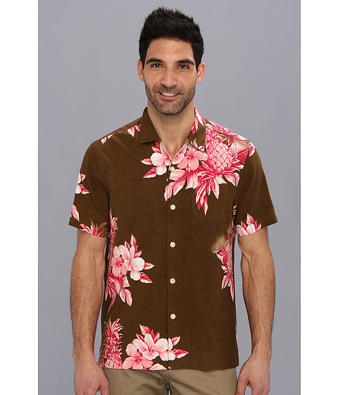 Tommy Bahama - Island Modern Fit Pina Colada Pineapple S/S Camp Shirt (Cola) Men