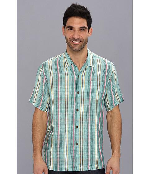 Tommy Bahama - Cool Rummings Plaid S/S Camp Shirt (Hawaiian Surf) Men's Short Sleeve Button Up