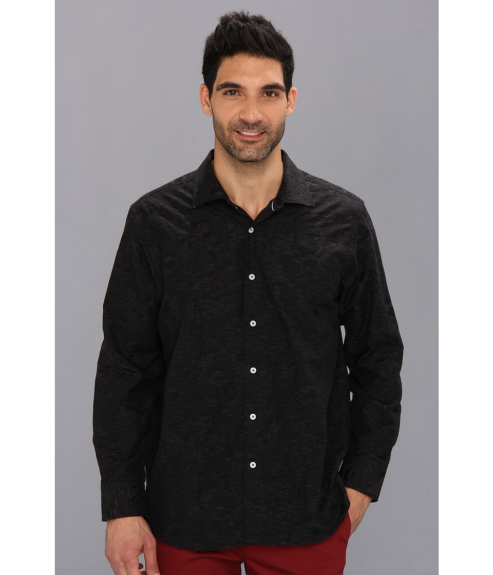 Tommy Bahama - Jacquard Mon L/S Shirt (Black) Men's Long Sleeve Button Up