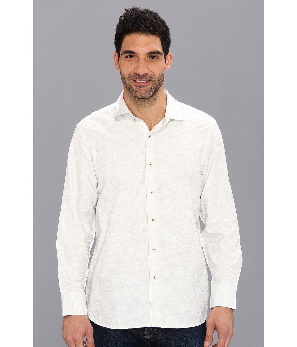 Tommy Bahama - Jacquard Mon L/S Shirt (White) Men's Long Sleeve Button Up