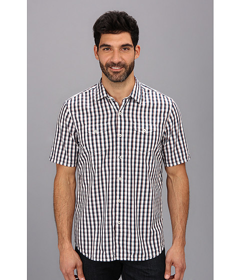 Tommy Bahama Denim - Island Modern Fit Union Square Check S/S Shirt (Navy) Men