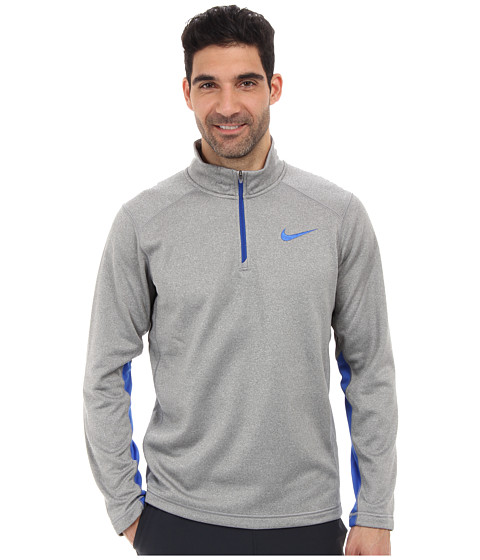 Nike - KO 1/4 Zip Top (Dark Grey Heather/Dark Grey Heather/Game Royal) Men