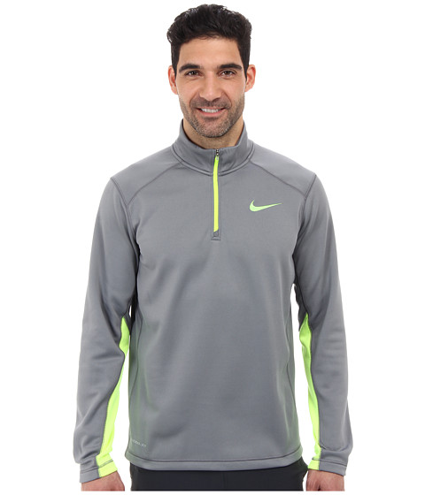 Nike - KO 1/4 Zip Top (Cool Grey/Volt/Volt) Men's Long Sleeve Pullover