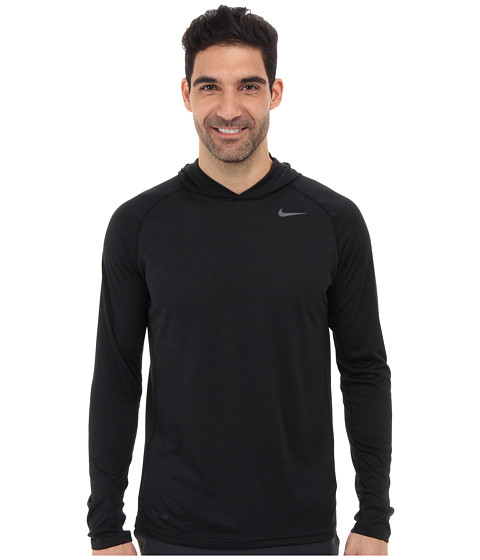 Nike - Dri-Fit Touch L/S Hoodie (Black/Dark Grey Heather/Anthracite) Men