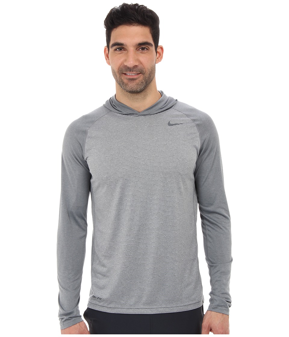 Nike - Dri-Fit Touch L/S Hoodie (Dark Grey Heather/Dark Grey Heather/Dark Grey) Men's Long Sleeve Pullover