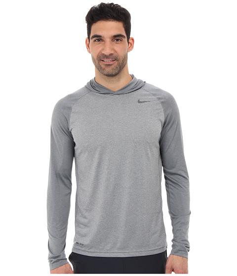 Nike - Dri-Fit Touch L/S Hoodie (Dark Grey Heather/Dark Grey Heather/Dark Grey) Men's Long Sleeve Pullover