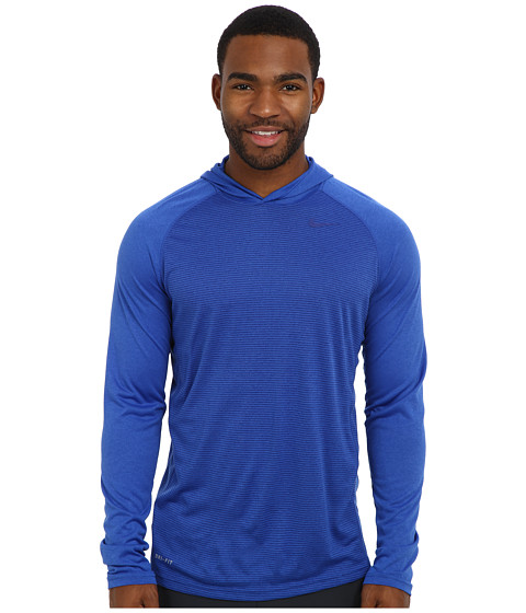 Nike - Dri-Fit Touch L/S Hoodie (Game Royal/Dark Grey Heather/Deep Royal Blue) Men