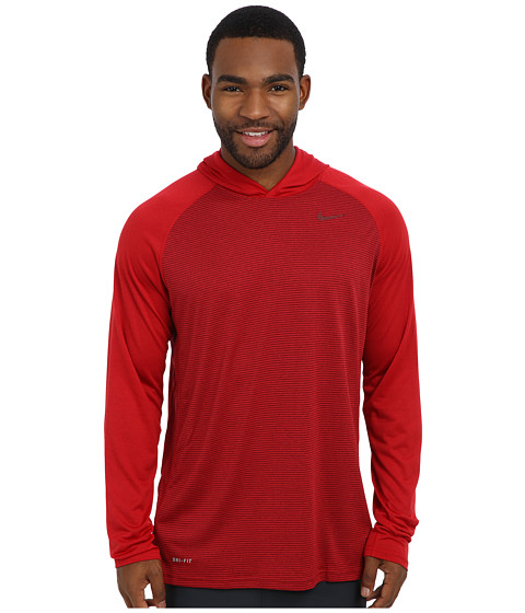 Nike - Dri-Fit Touch L/S Hoodie (Gym Red/Dark Grey Heather/Team Red) Men