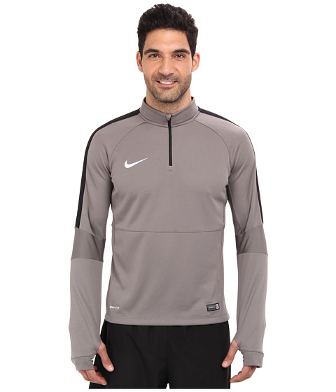 Nike - Squad Ignite L/S Midlayer Top (Light Ash/Black/White) Men's Long Sleeve Pullover