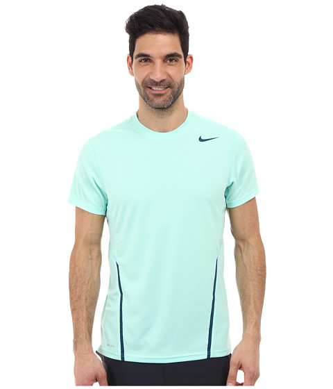 Nike - Power UV S/S Crew (Medium Mint/Space Blue/Space Blue) Men's Short Sleeve Pullover