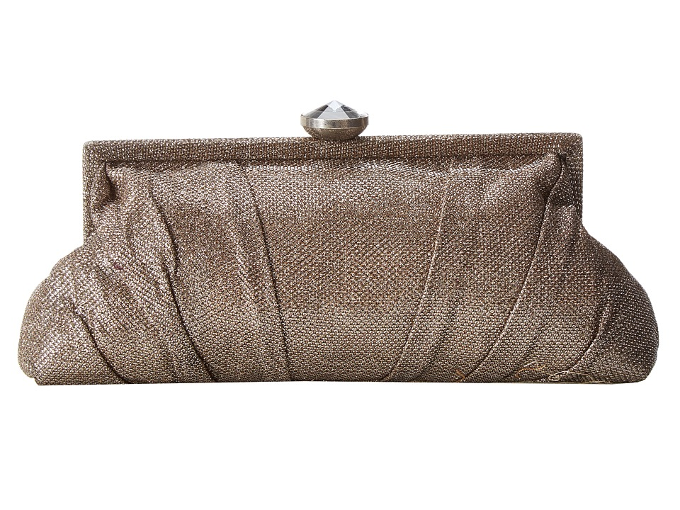 Jessica McClintock - Glitter Jewel Clasp Frame (Champagne) Clutch Handbags
