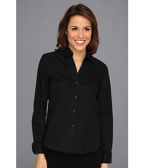 Jones New York - No-Iron Easy Care Fitted Shirt (JBlack) Women's Long Sleeve Button Up