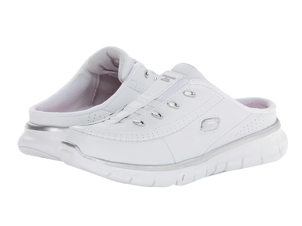 SKECHERS - Synergy - Elite Glam (White/Silver) Women's Slip on Shoes