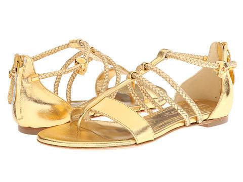 Alexander McQueen - Woven Strap Flat (Gold) Women's Sandals