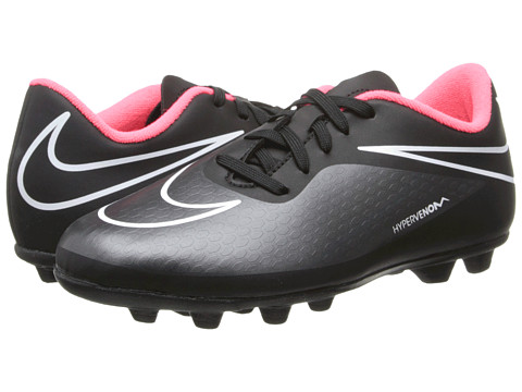 Nike Kids - Jr Hypervenom Phade FG-R (Toddler/Little Kid/Big Kid) (Black/Hyper Punch/Black) Kids Shoes