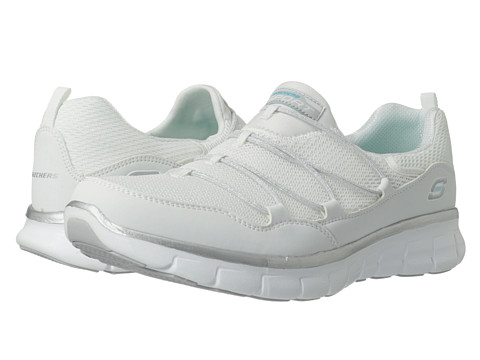 SKECHERS - Synergy - Loving Life (White/Silver) Women's Slip on Shoes