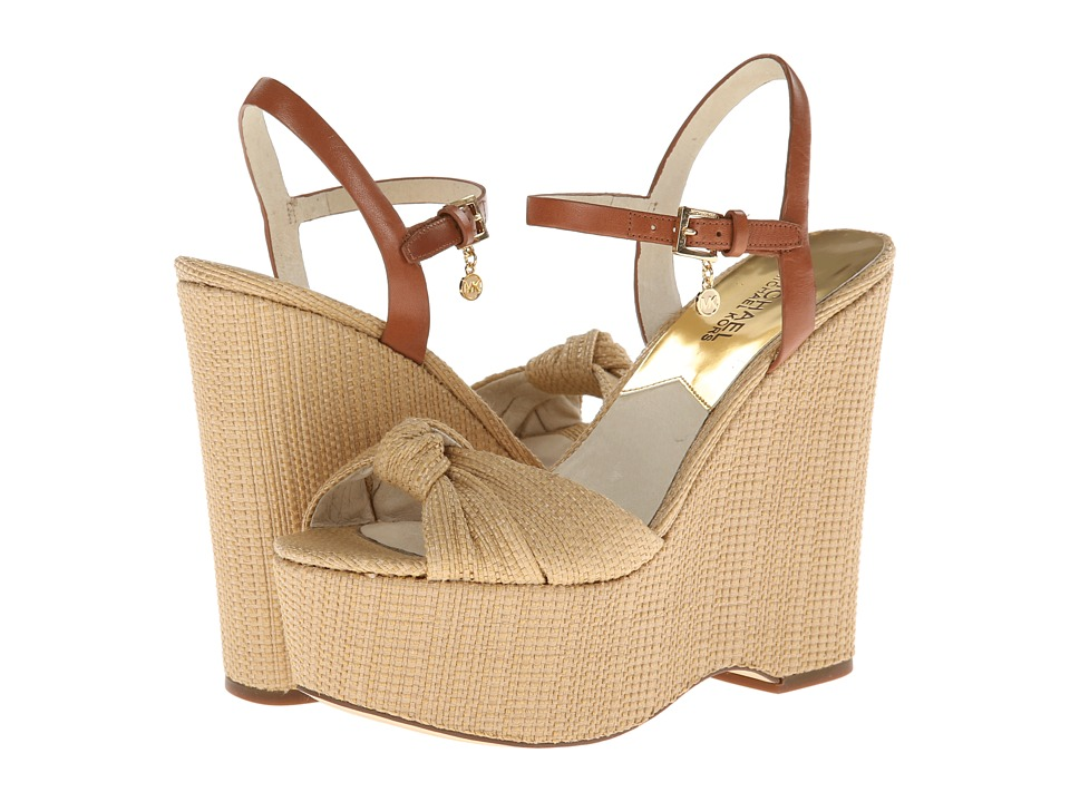MICHAEL Michael Kors - Benji Wedge (Natural Soft Straw/Vachetta) Women's Wedge Shoes