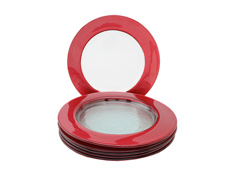 10 Strawberry Street - Colored Rim Glass Charger Red - Set of 6 (Clear Glass/Red Band) Dinnerware Cookware