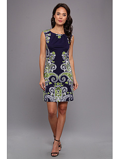 SALE! $42.99 - Save $36 on London Times Cap Sleeve Shift Dress (Navy Lime) Apparel - 45.58% OFF $79.00