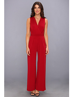 SALE! $49.99 - Save $98 on Vince Camuto V Neck Faux Wrapjersey Jumpsuit (Red) Apparel - 66.22% OFF $148.00