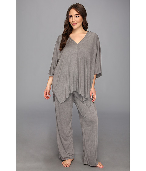Natori - Plus Size Shangri-La Tunic PJ (Heather Grey) Women's Pajama Sets
