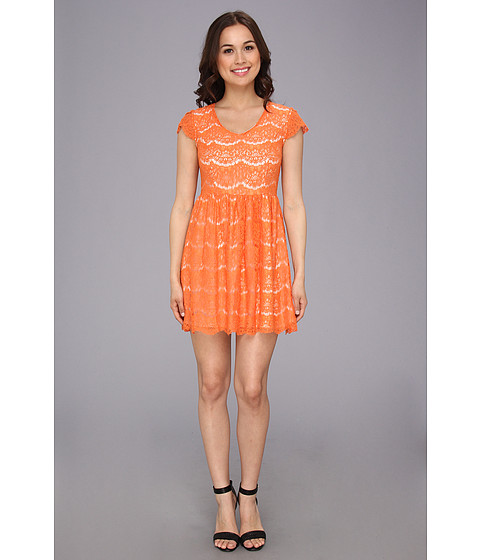 kensie - Floral Lace Dress (Iced Orange Combo) Women's Dress