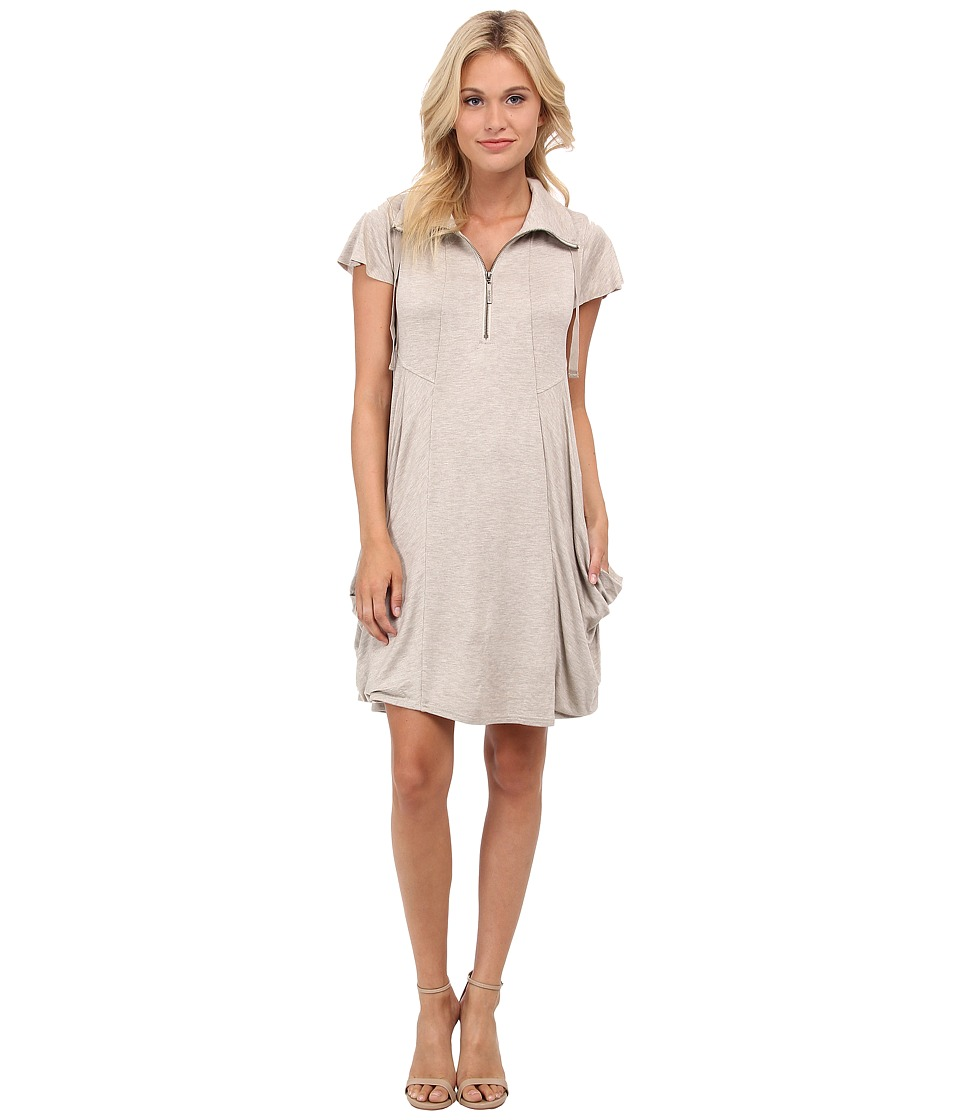 kensie - Drapey French Terry Dress (Heather Buff) Women's Dress