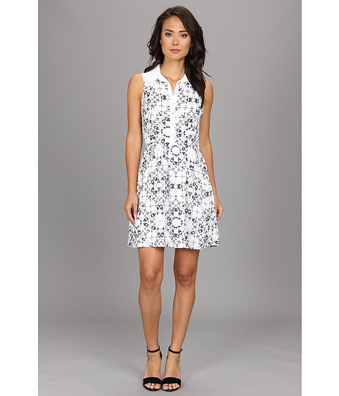 kensie - Etched Kaleidoscope Dress (White Combo) Women