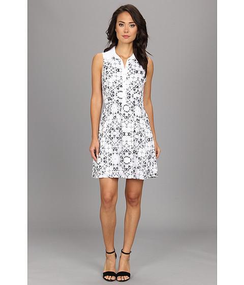 kensie - Etched Kaleidoscope Dress (White Combo) Women