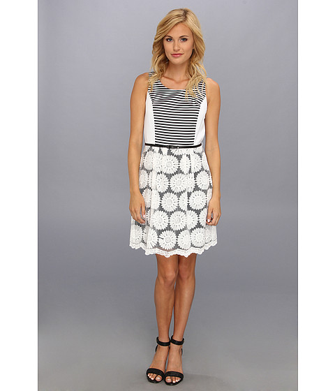 kensie - Sunflowers Dress (White Combo) Women