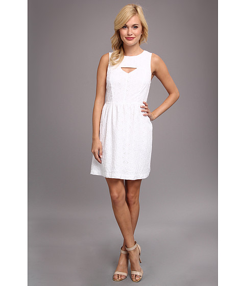 kensie - Embroidered Daisies Dress (White) Women's Dress