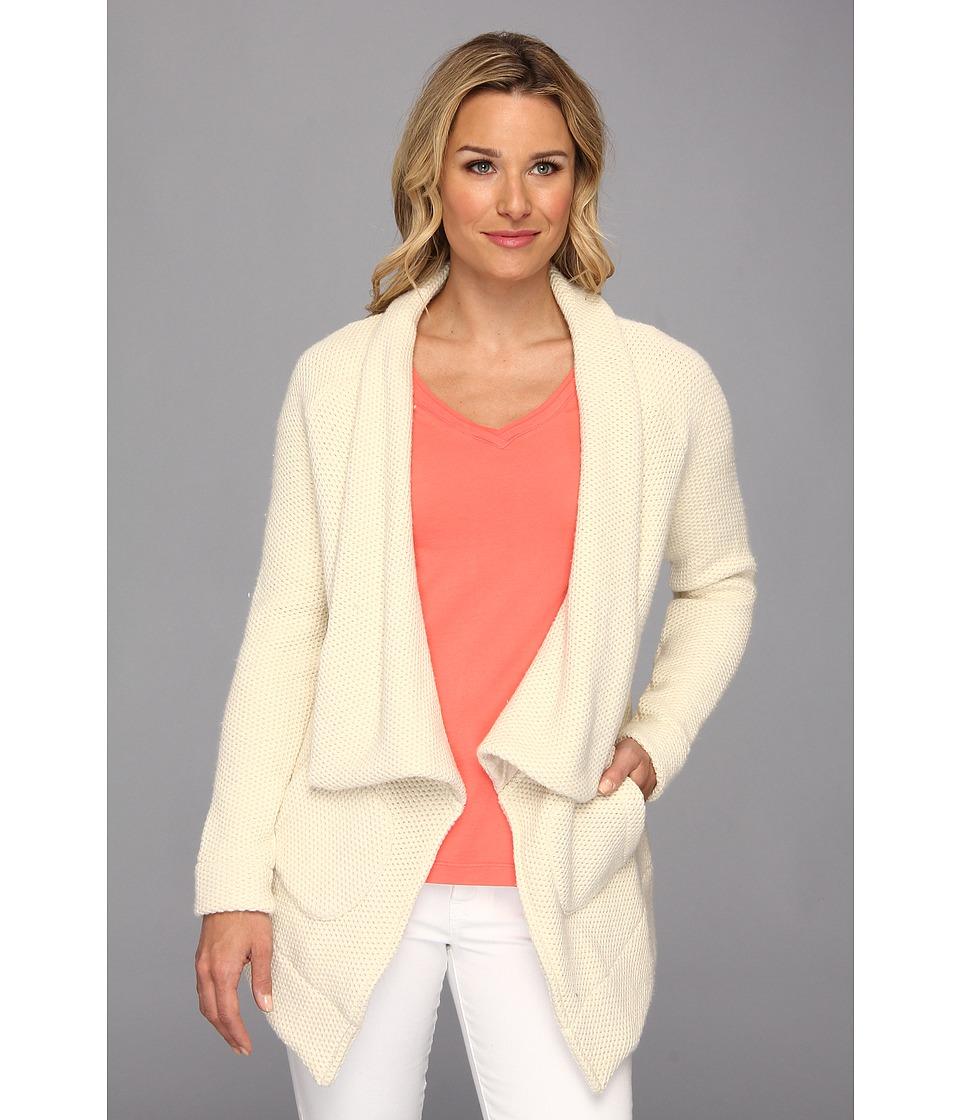 Mod-o-doc - Honeycomb Knit Shawl Collar Coat (Winter White) Women