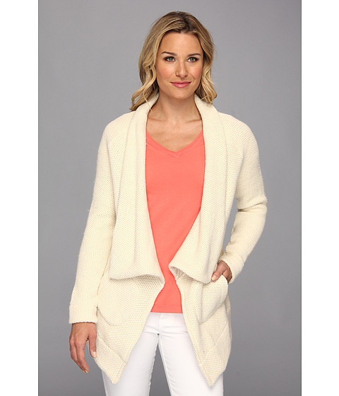 Mod-o-doc - Honeycomb Knit Shawl Collar Coat (Winter White) Women's Sweater