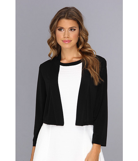 Calvin Klein - 3/4 Sleeve Open Fron Shrug Dress (Black) Women