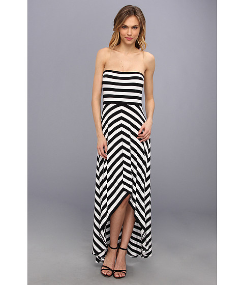 Calvin Klein - Striped Bra Cup Dress (Black/White) Women's Dress