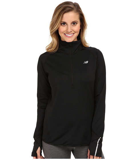 New Balance - Heat 1/2 Zip Semi-Fitted Top (Black) Women's Long Sleeve Pullover