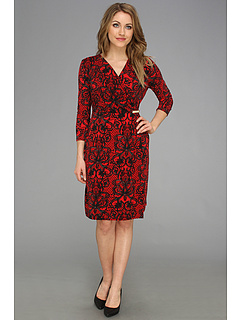 SALE! $49.99 - Save $50 on Calvin Klein L S Printed Wrap Dress (Black Rouge) Apparel - 49.76% OFF $99.50