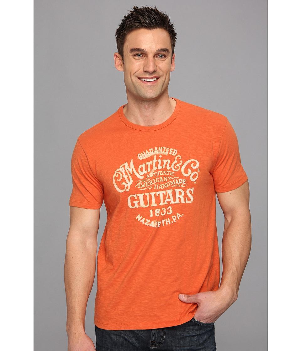 Lucky Brand Martin Guitars Tee Mens Short Sleeve Pullover (Orange)