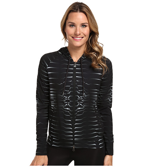 New Balance - HKNB Woven Bomber Hoodie (Black Print) Women's Coat