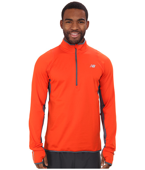 New Balance - Heat 1/2 Zip L/S Top (Fireball/Lead) Men's Long Sleeve Pullover