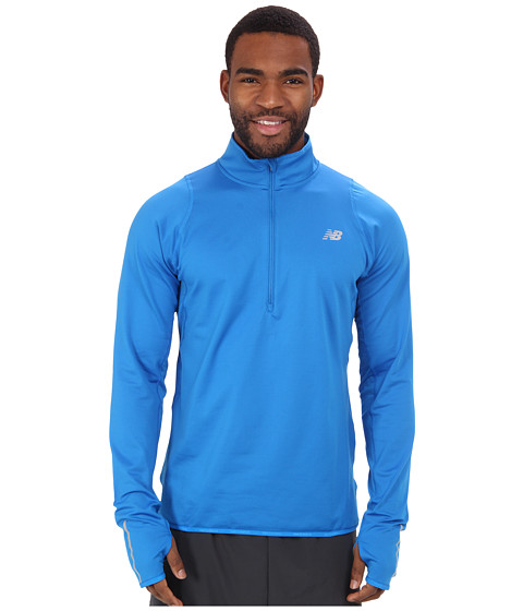 New Balance - Heat 1/2 Zip L/S Top (Laser Blue/Laser Blue) Men