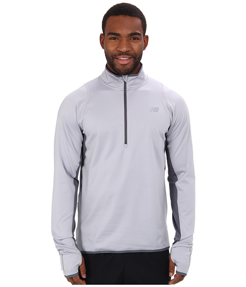 New Balance - Heat 1/2 Zip L/S Top (Silver Mink/Lead) Men