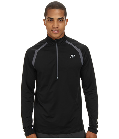 New Balance - Impact 1/2 Zip Semi-Fitted Top (Black/Lead) Men's Long Sleeve Pullover