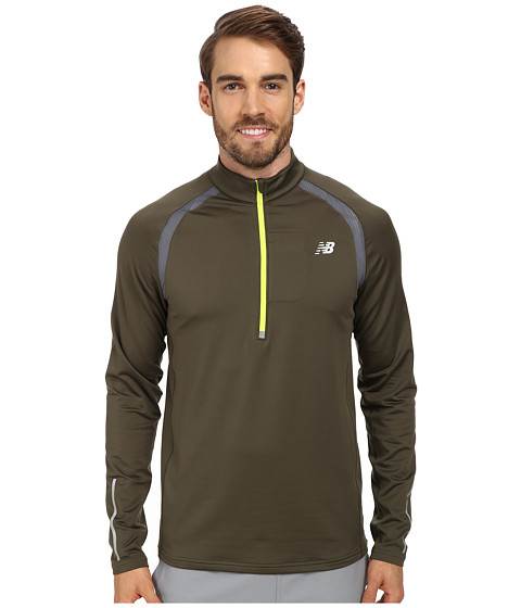 New Balance - Impact 1/2 Zip Semi-Fitted Top (Combat/Lead) Men
