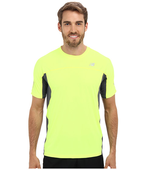 New Balance - Ice S/S Semi-Fitted Top (Hi-Lite/Lead) Men's Short Sleeve Pullover
