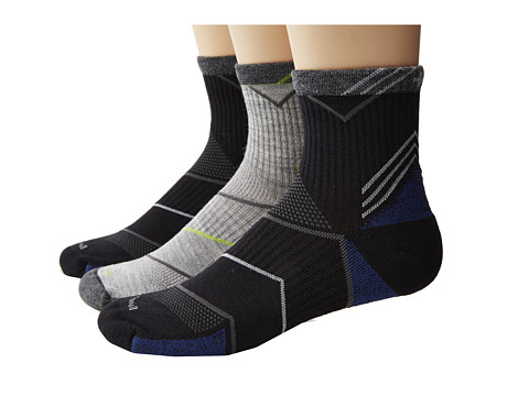 Sockwell - Incline Quarter 3-Pack (Black/Light Grey) Men's Quarter Length Socks Shoes