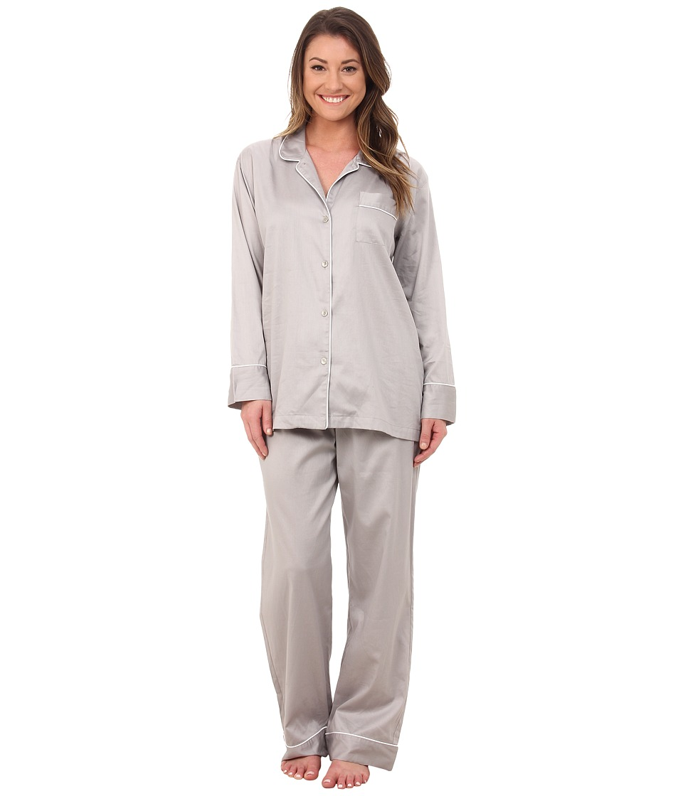 Natori - Cotton Sateen Notch PJ (Grey) Women's Pajama Sets
