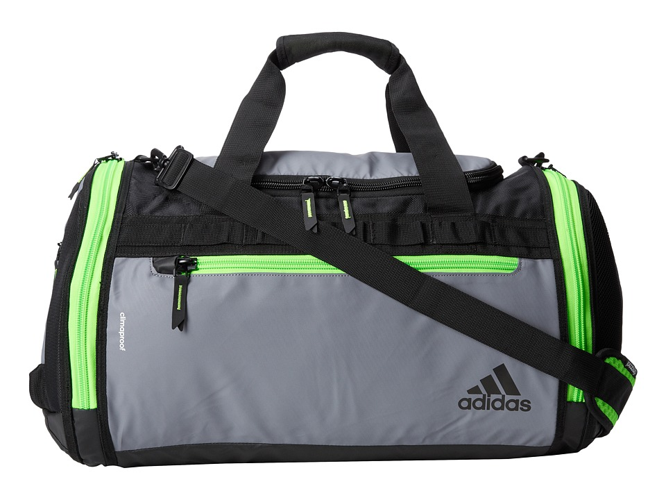 adidas - Climaproof Menace Duffel (Grey/Solar Green/Solar Yellow) Duffel Bags
