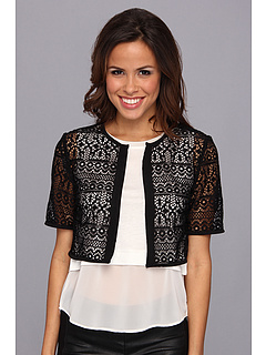 SALE! $29.99 - Save $29 on Anne Klein Elbow Sleeve Crochet Cardigan (Black) Apparel - 49.17% OFF $59.00