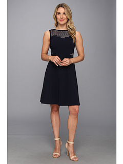 SALE! $67.99 - Save $61 on Anne Klein Lasercut Double Weave Fit N` Flare Dress (Midnight) Apparel - 47.29% OFF $129.00